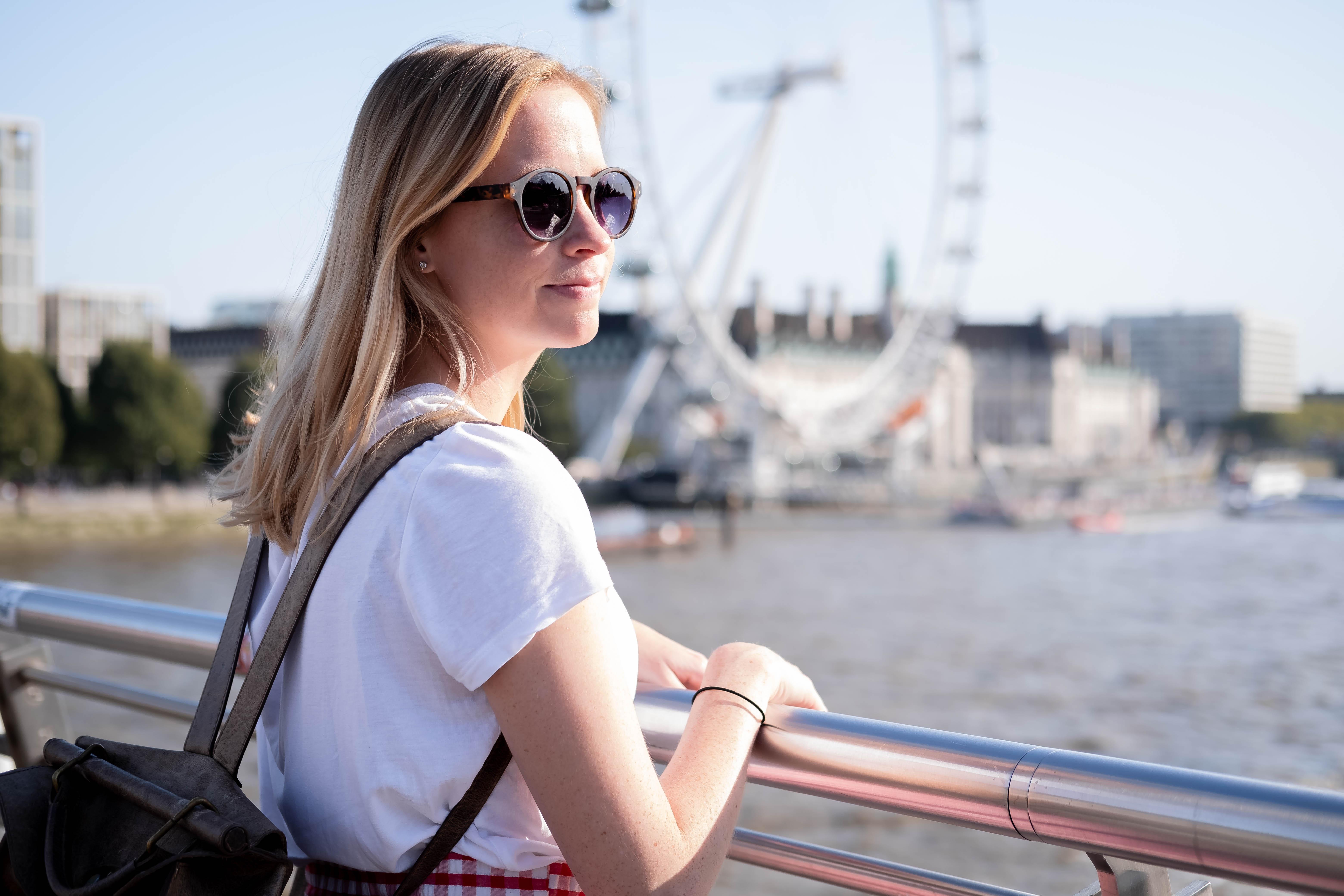 Celeste in front of the London Eye