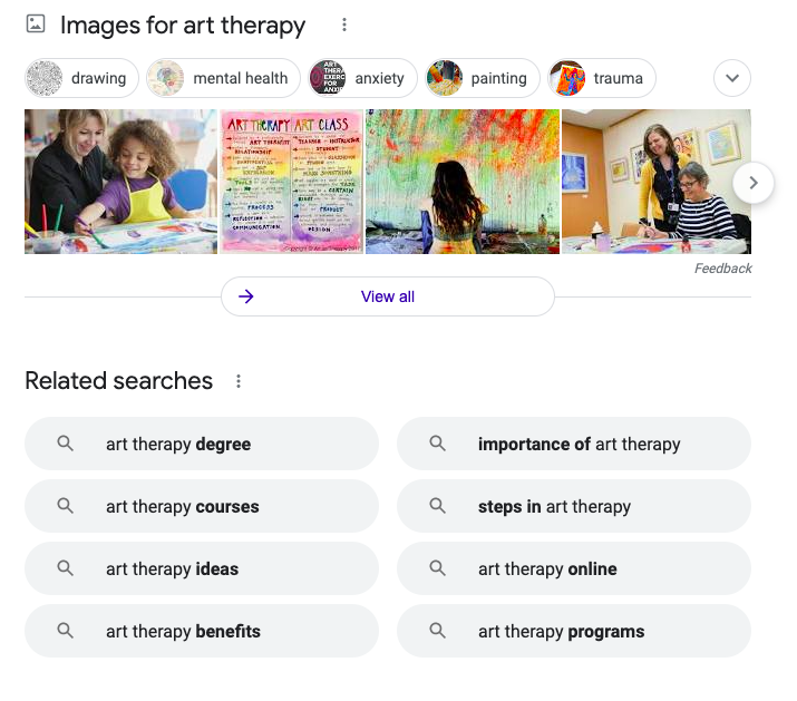 Related google searches for art therapy